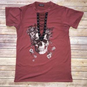 FashionNova Red Skull Flower Open Tie Up Neck